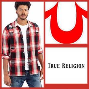 True Religion Loose Fit Mens Plaid Shirt